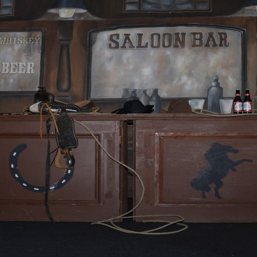 SALOON BAR WITH BACKDROP BEHIND